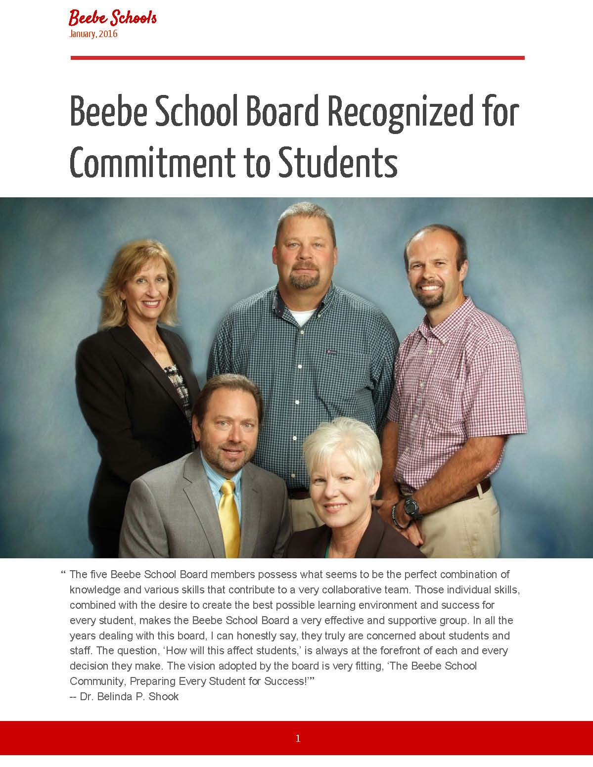 Beebe School Board Recognized for Commitment to Students
