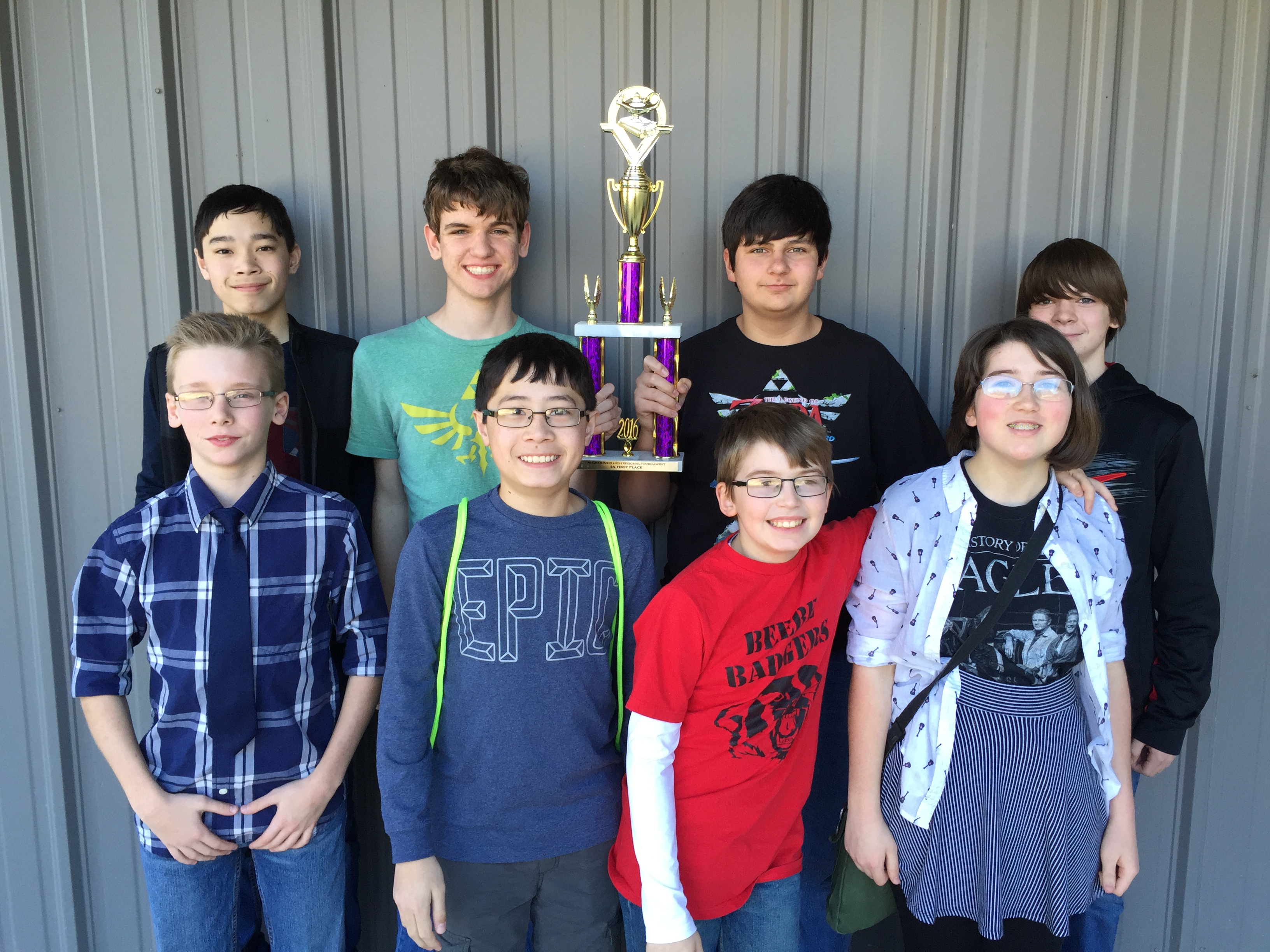 Beebe Junior High Quiz Bowl Team Wins First Place at the Regional Tournament.